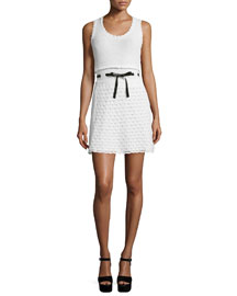 Sleeveless Scoop-Neck Crochet Dress, Ivory/White