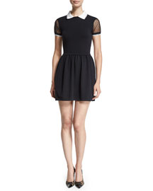 Lace-Sleeve Fit-&-Flare Dress, Black