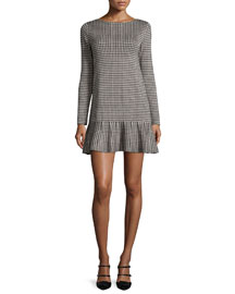 Long-Sleeve Houndstooth Drop-Waist Dress, Black/Ivory