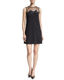 Sleeveless Shift Dress W/Center Bow, Black