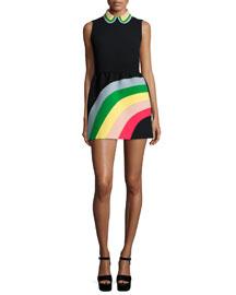 Sleeveless Rainbow Mini Shirtdress, Black