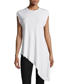 Cap-Sleeve Asymmetric Jersey Tunic