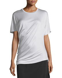 Asymmetric Shirred Silk Tee, Putty
