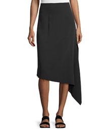 Asymmetric Crepe Bias-Cut Skirt, Black