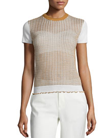 Short-Sleeve Shrunken Wool-Blend Tee, Ivory/Camel