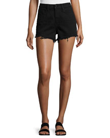Bite High-Rise Frayed Shorts, Black Fade