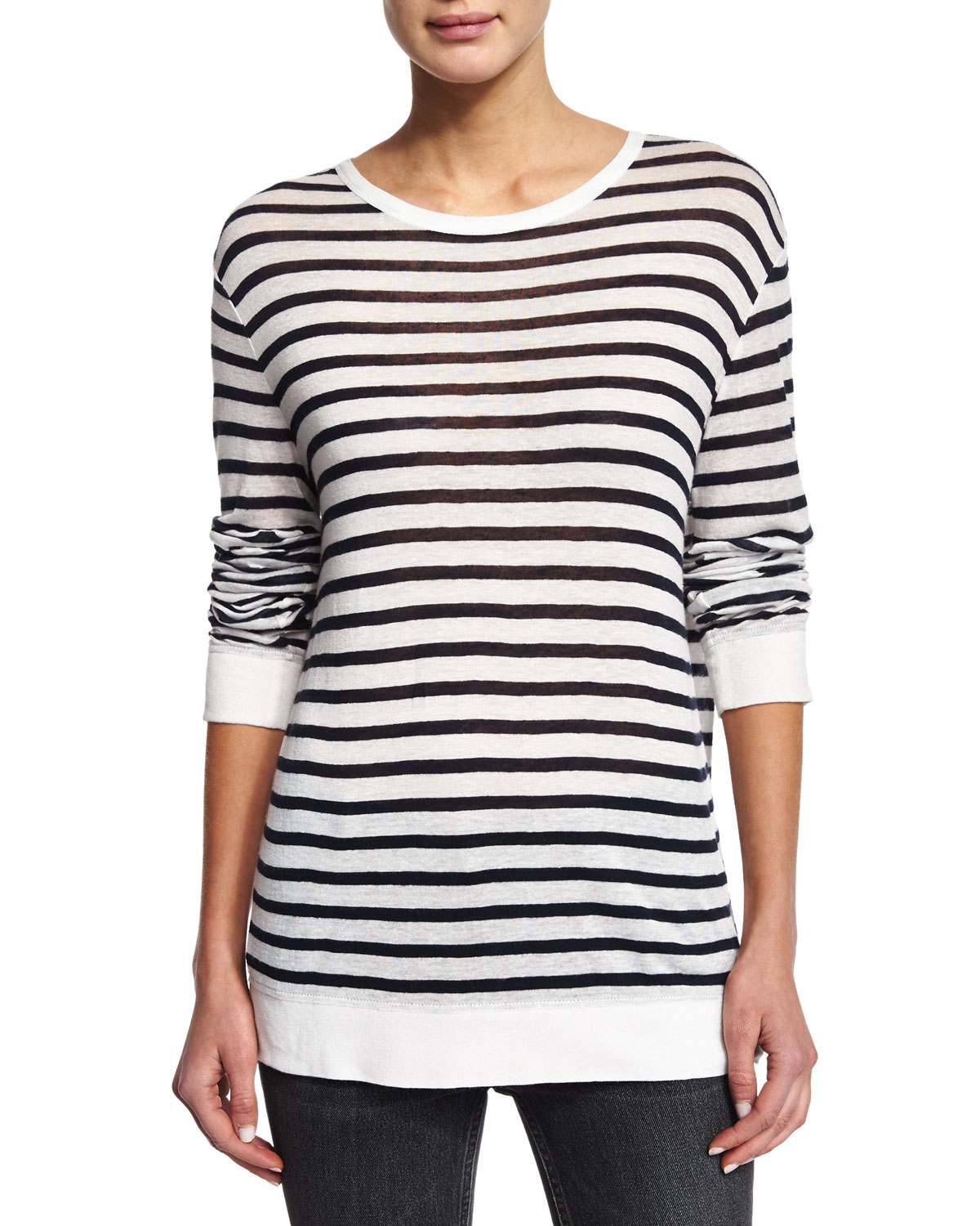 T by Alexander Wang Striped Linen-Blend Tee, Ink/Ivory, Size: S, Ink And Ivory