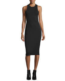 Sleeveless Ponte Bandeau Midi Dress, Black
