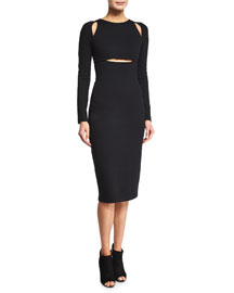 Ponte Cutout Sheath Dress, Black