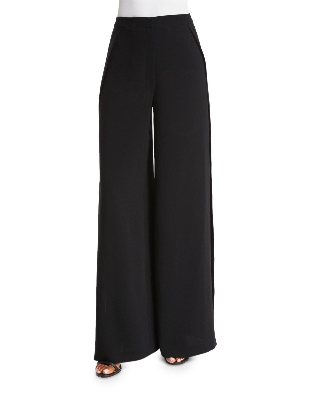 Elizabeth and James Daniella Wide-Leg Pants W/Slit, Black, Size: 4