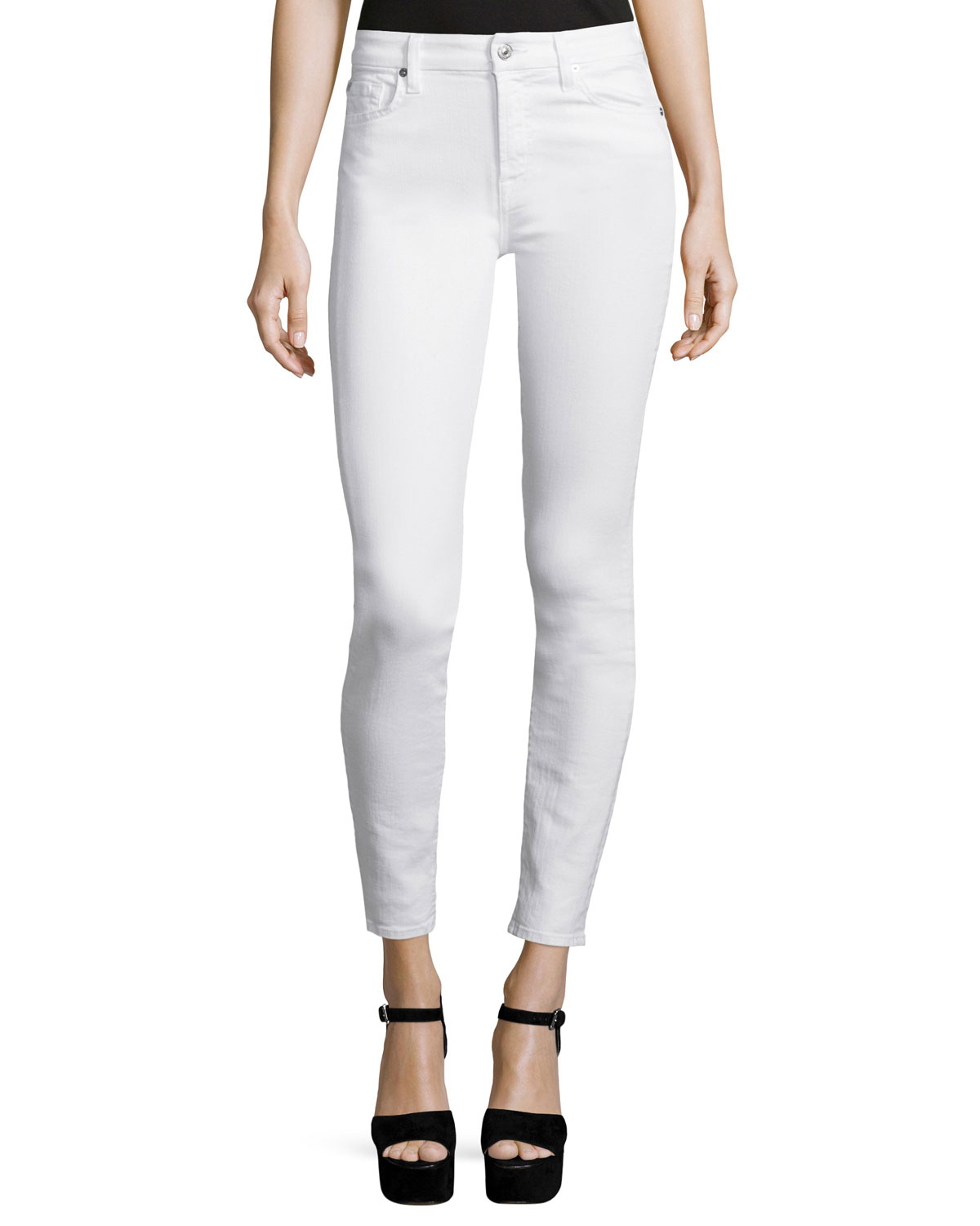 7 For All Mankind The Skinny Ankle Jeans, White, Size: 31