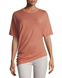 Short-Sleeve Superfine Wool Sweater, Rose