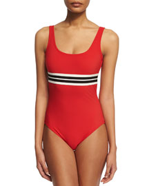 Parallel Striped Band Round-Neck One-Piece Swimsuit