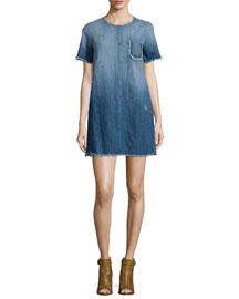 The Frayed-Edge Denim Shift Dress, Blue