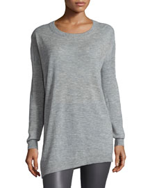 Asymmetric Cashmere Tunic Sweater, Gray