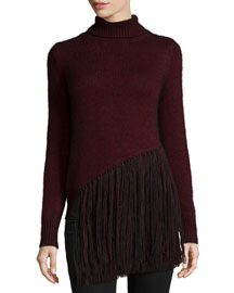 Long-Sleeve Five-Gauge Turtleneck Sweater W/Fringe
