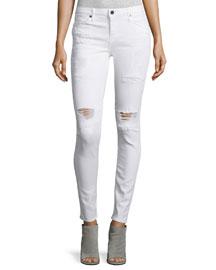 Icon Distressed Skinny Jeans, Whitelash