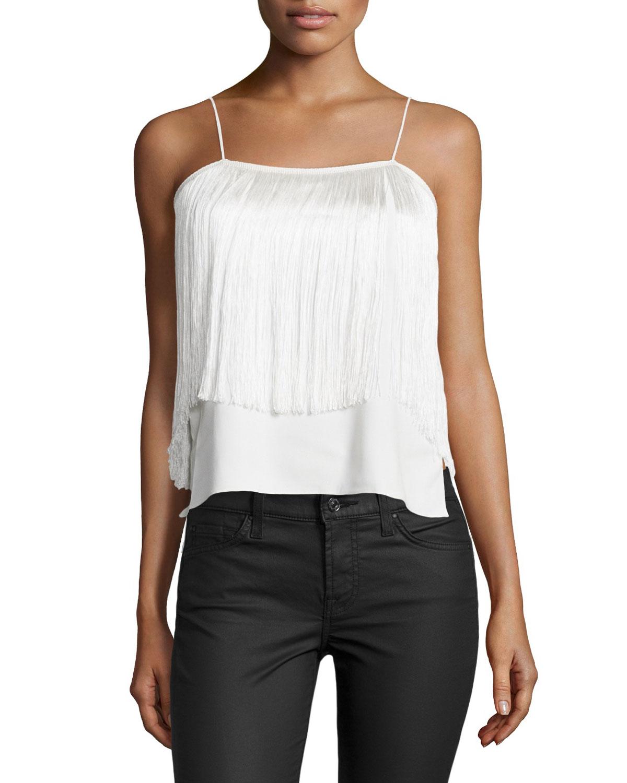 Alexis Aimee Sleeveless Fringe Top, White, Size: XS