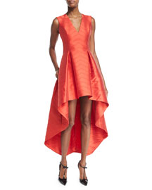 Leena Chevron-Print High-Low Dress, Red