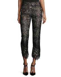 Alis Lace Slim-Leg Cropped Pants, Black