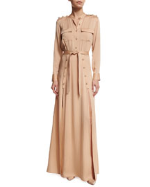 Long-Sleeve Crepe Military Maxi Dress, Camel