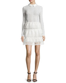 Long-Sleeve Tiered Scalloped Lace Dress, Off White