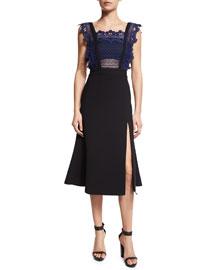 Sleeveless Angelique A-Line Combo Dress, Blue/Black