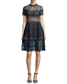 Felicia Embroidered Midi Dress, Navy
