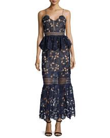 Amaryllis Sheer Lace Column Dress, Navy