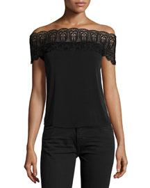 Bardot Lace-Trim Off-the-Shoulder Top, Black