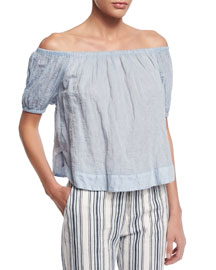 Crinkled Off-the-Shoulder Top, Forever Blue