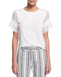 Short-Sleeve Cotton Tiered-Trim Blouse, White