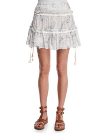 Tiered Floral A-Line Skirt, Off White