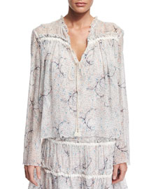 Long-Sleeve Floral Tie-Front Blouse, Off White