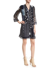 Layla Patched Dots Pleated Silk Dress