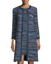 Nalda Tweed Open-Front Jacket, Black/Indigo/Camellia