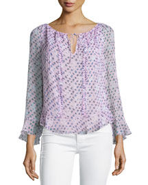 Simonia Daisy Shadows Plisse Silk Blouse