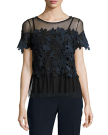 Noreen Short-Sleeve 3D Lace Top, Navy/Multi
