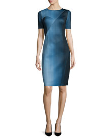 Carmen Short-Sleeve Digital-Print Sheath Dress, Atlantis