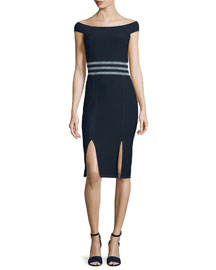 Off-the-Shoulder Banded Sheath Dress, Navy/White