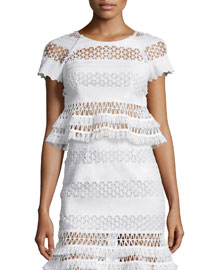 Cap-Sleeve Mechanical Macrame Lace Tee, Ivory