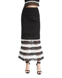 Macrame Trumpet Maxi Skirt, Black