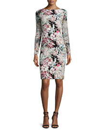 Renee Long-Sleeve Floral Pencil Dress, Black/Multicolor
