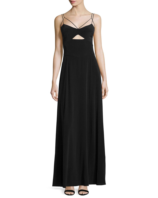 L'Agence Elsa Cutout Maxi Dress, Washed Black, Size: 10