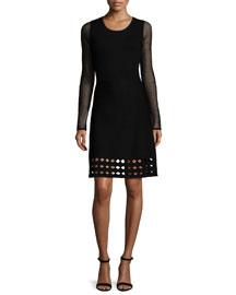 Zita Long-Sleeve Sheath Dress W/Cutouts, Black