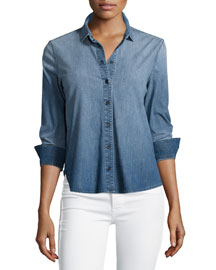 Azni Button-Front Chambray Shirt, Manifest