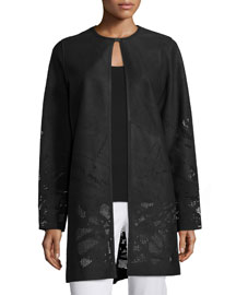 Melody Leather Coat W/Perforated Hem, Black