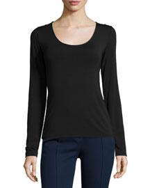 Netta Long-Sleeve Top, Black