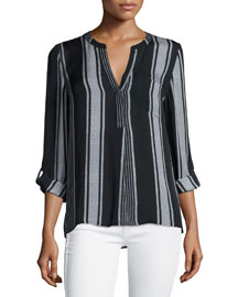 Oden Multi-Striped Silk Top
