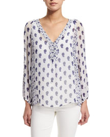 Luciano Printed Silk Top